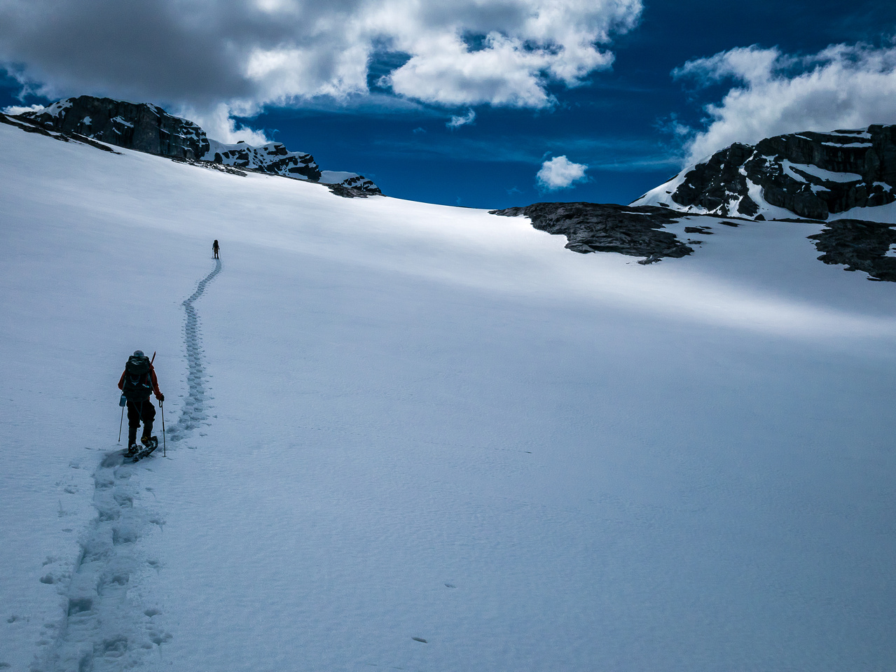 Nice slushy tracks up towards the Mangin Glacier. We can't even see Joffre yet (out of sight to the left).