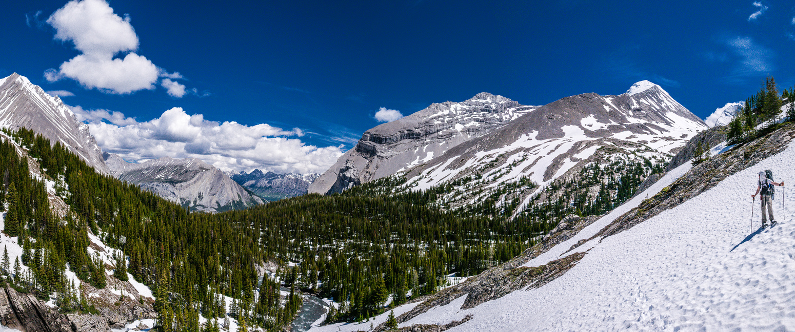 Nearing Aster Lake, looking back at our approach and Mount Sarrail rising on the right.