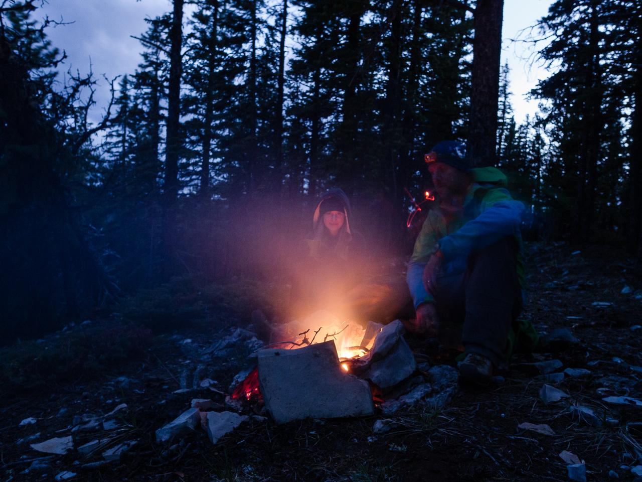 A cheery fire to keep us warm.