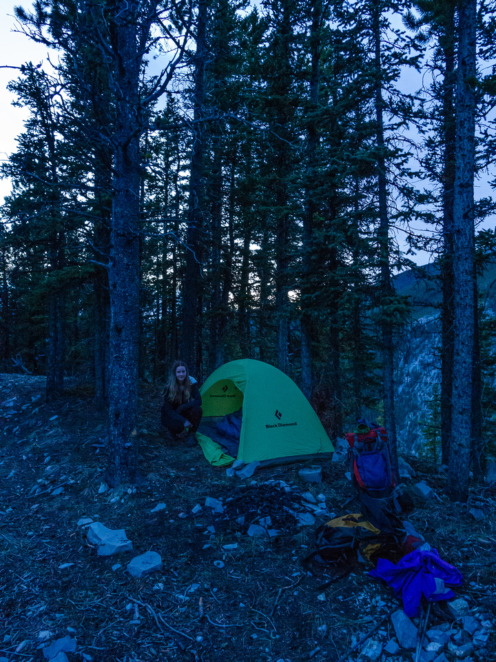 A nicely protected bivy just under the summit.