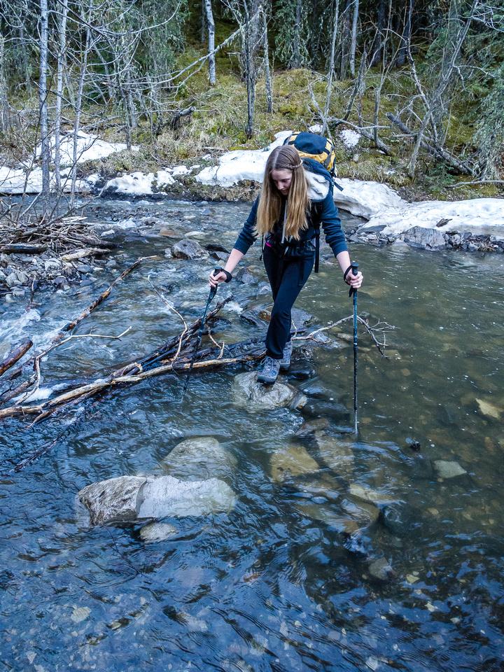 Crossing a rushing stream on wobbly rocks is always fun...