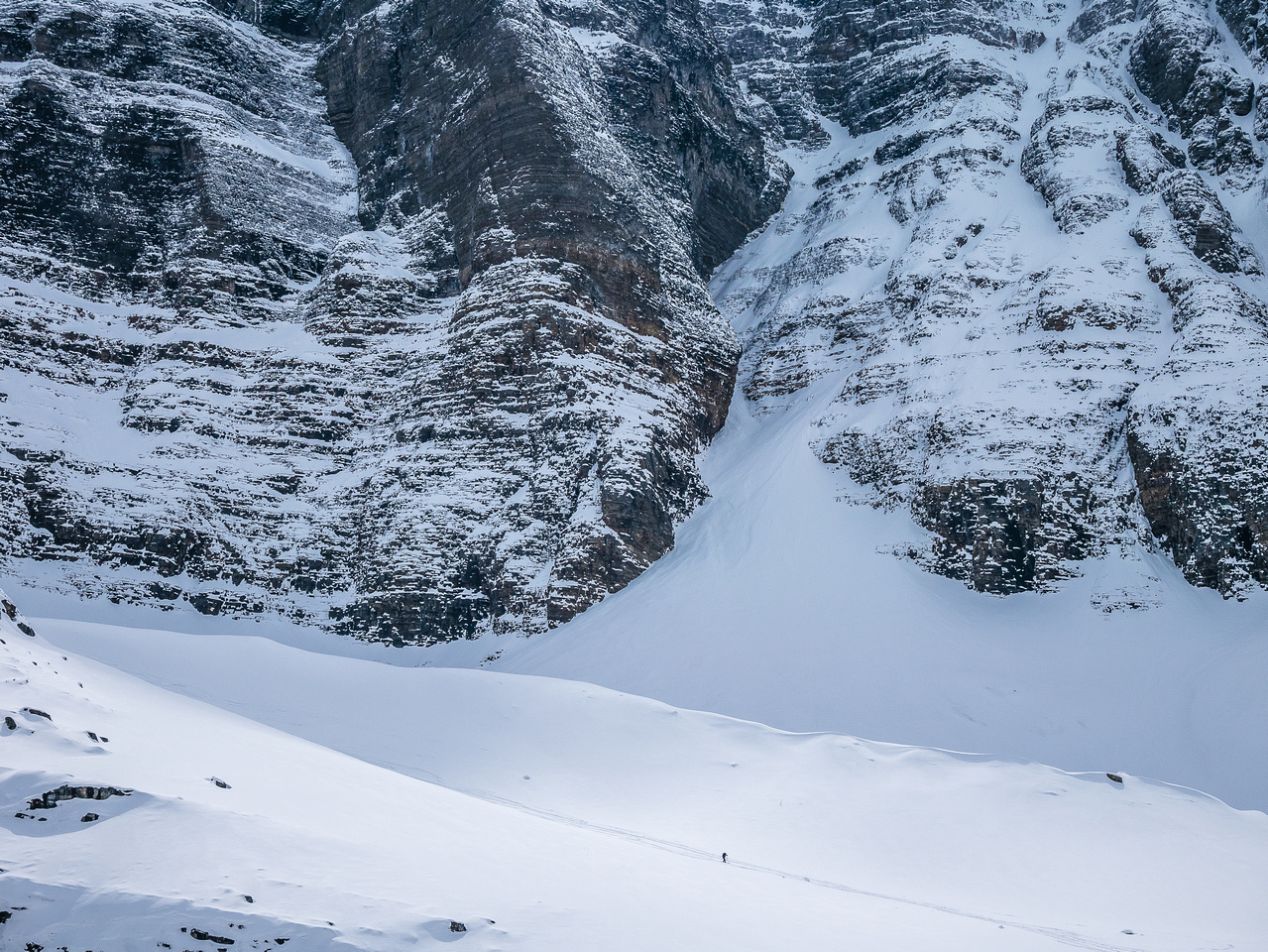 The terrain is huge around Lake Annette - spot Steven coming down the ramp that's exposed to serac fall.