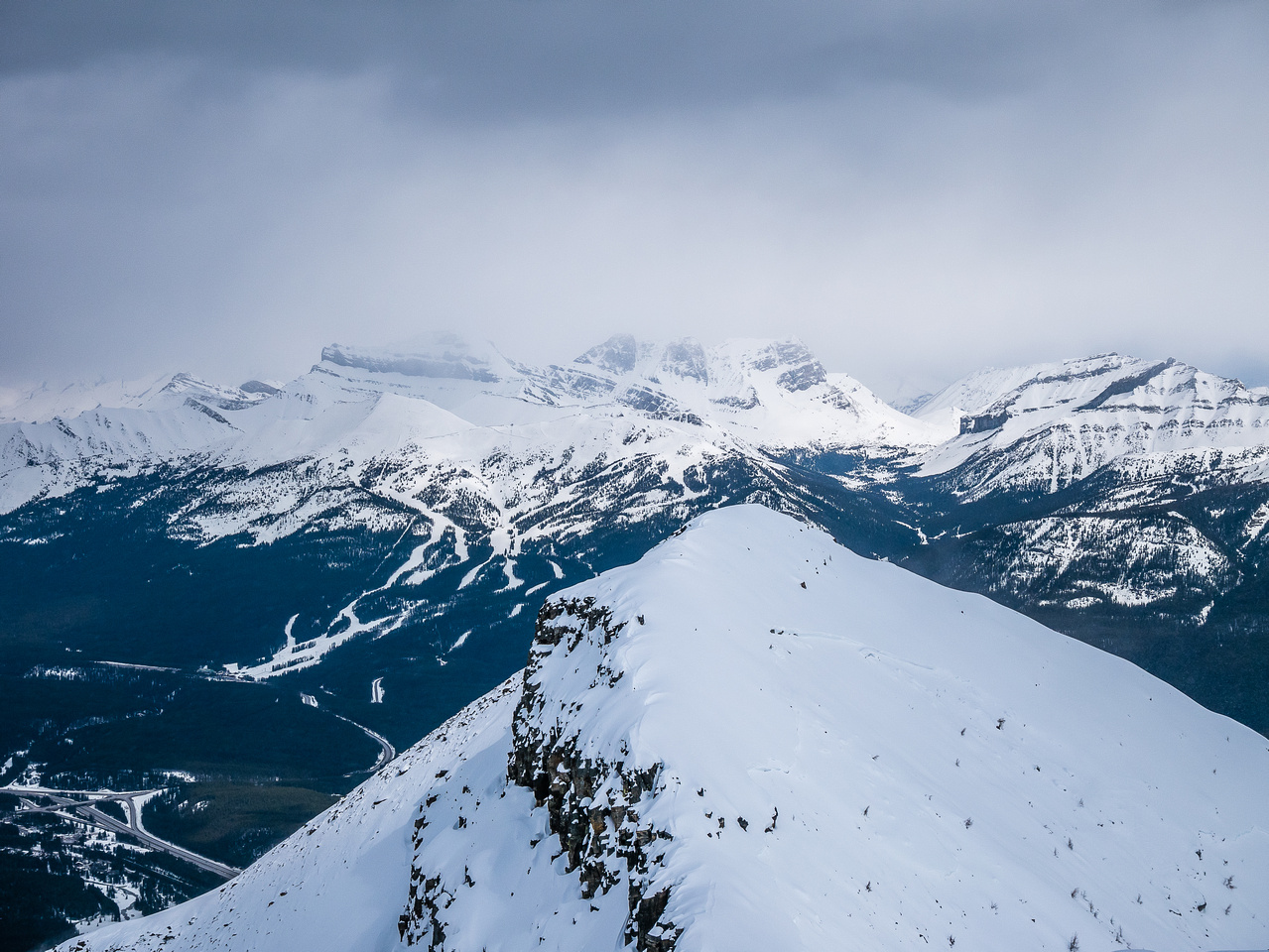 Looking over a sub summit towards the Lake Louise ski resort.