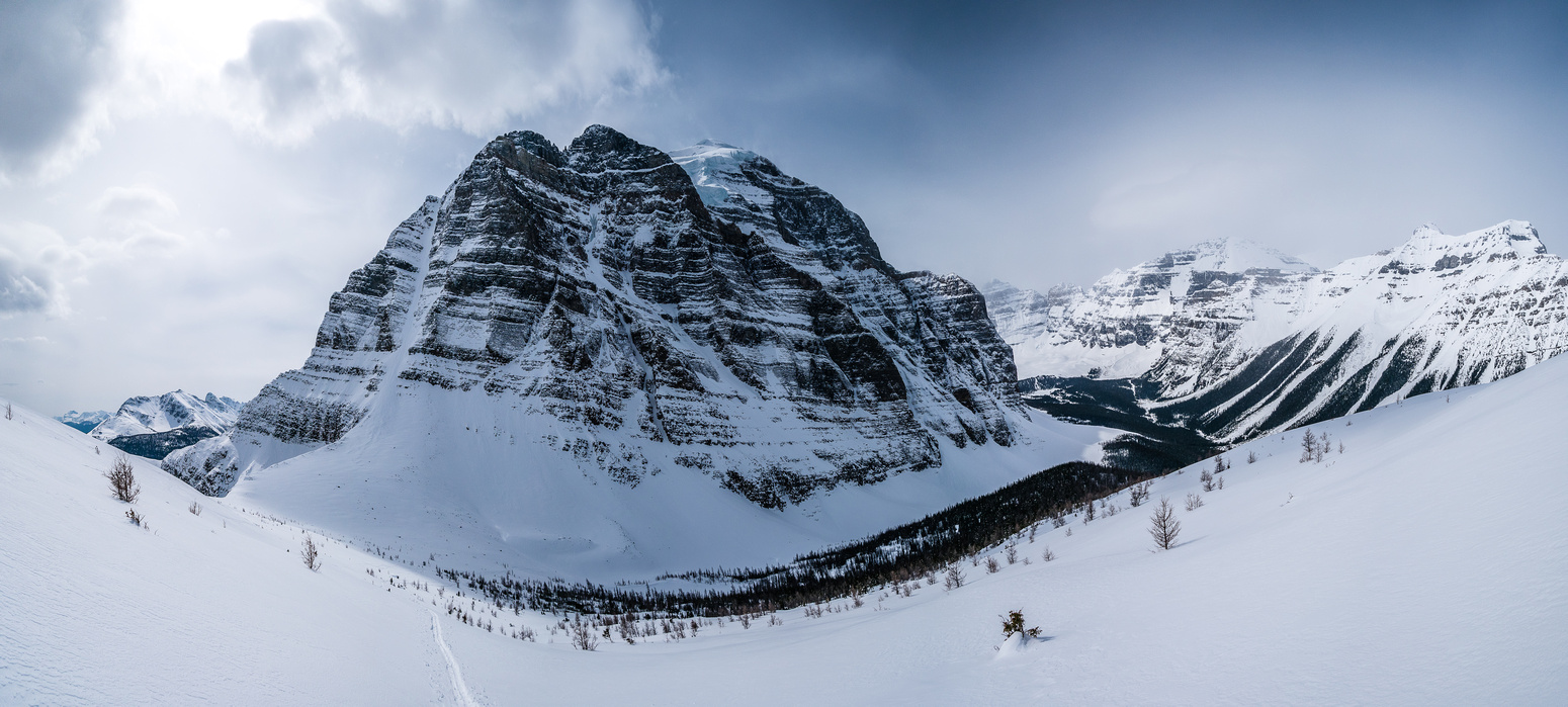 Pano of Mount Temple - Aemmer Couloir on the left.