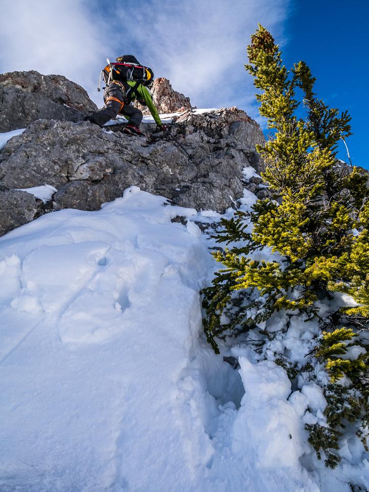 Steven down climbing a short, difficult section along the ridge.