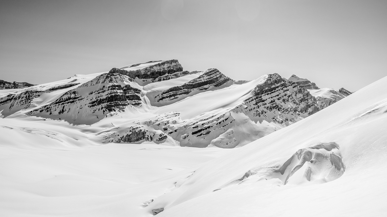 Crevasses lurk everywhere here! Mount Gordon is impressive from this angle.