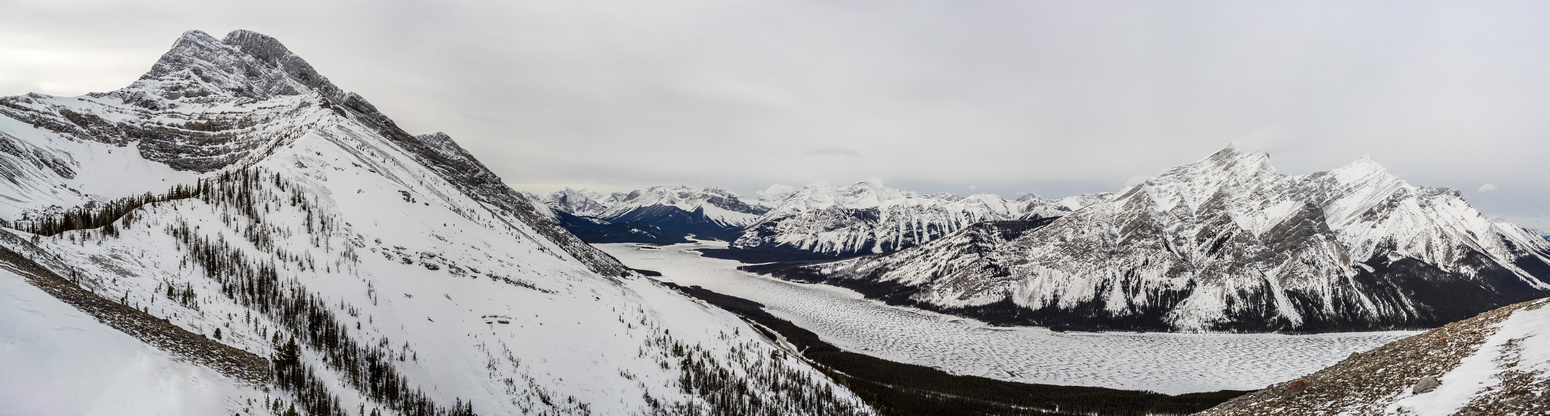 Panorama of Spray Lakes with Buller at left.