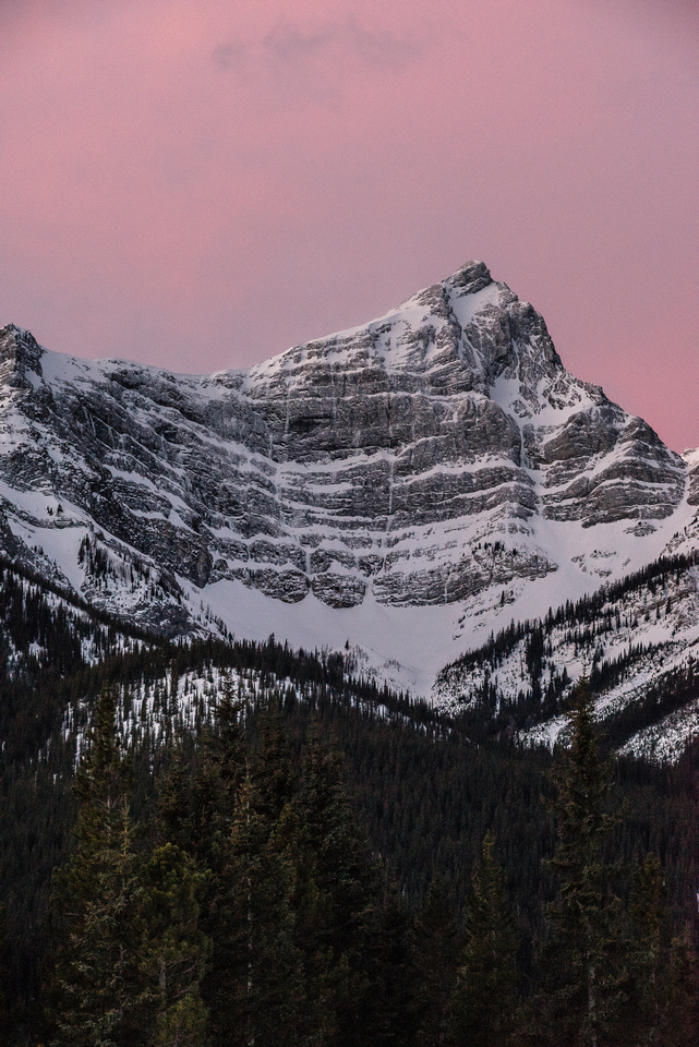 CEGFNS and the morning glow from the Spray Lakes road.