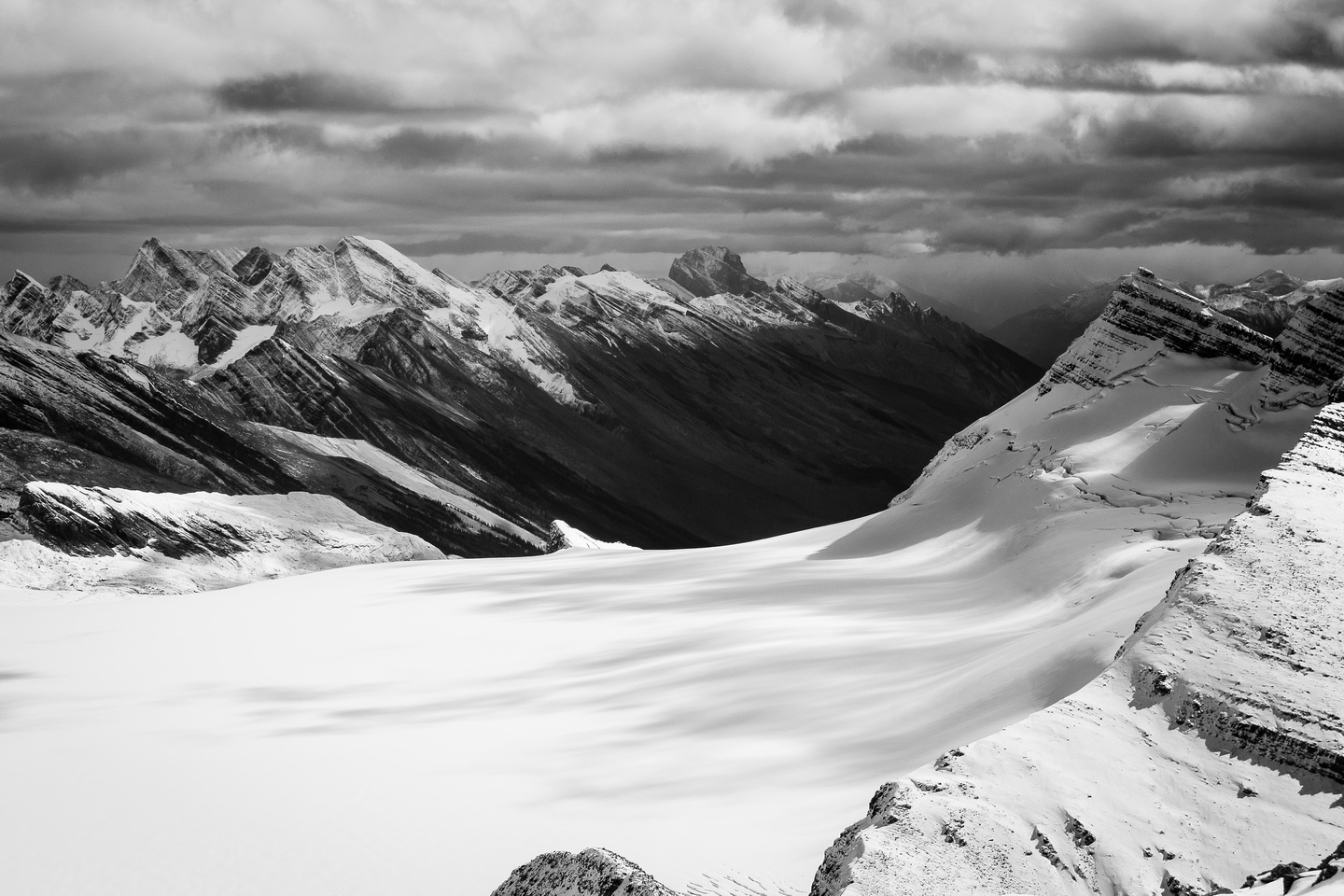 Looking over the Reef Icefield to Mount Fitzwilliam in the distance.