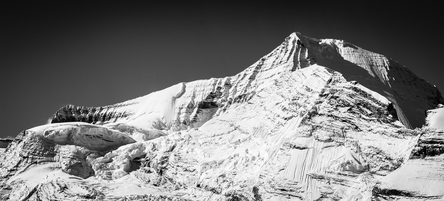Mighty Mount Robson with the Helmet in front of its east face and the Kain Face rising above The Dome on the left.