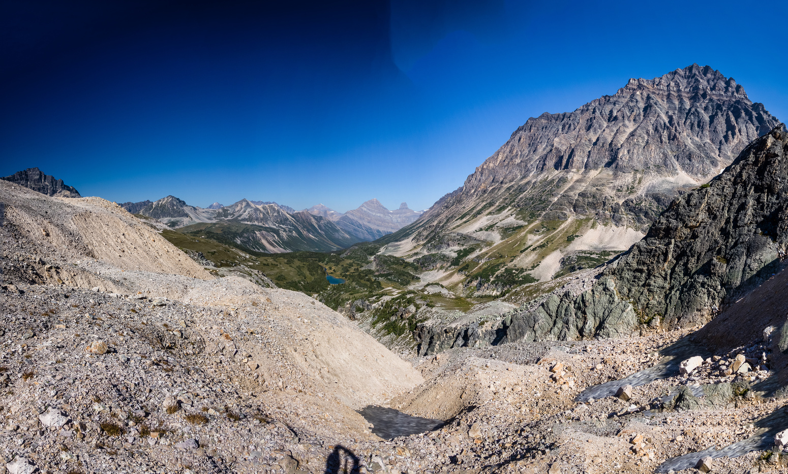 The moraine / loose scree that we ascended to the second col. Catacombs on the right.