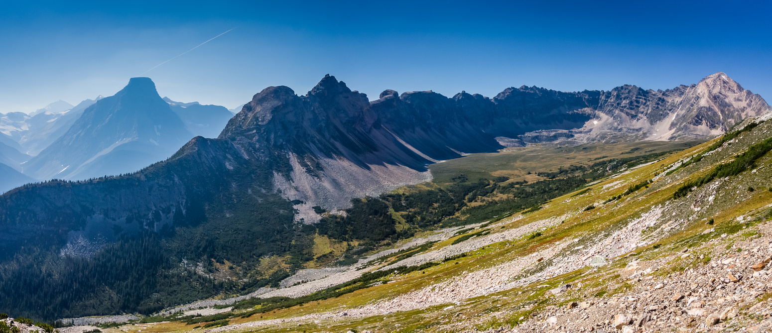 A panorama of the pristine and very beautiful valley between Fortress Mountain and Fortress Lake.