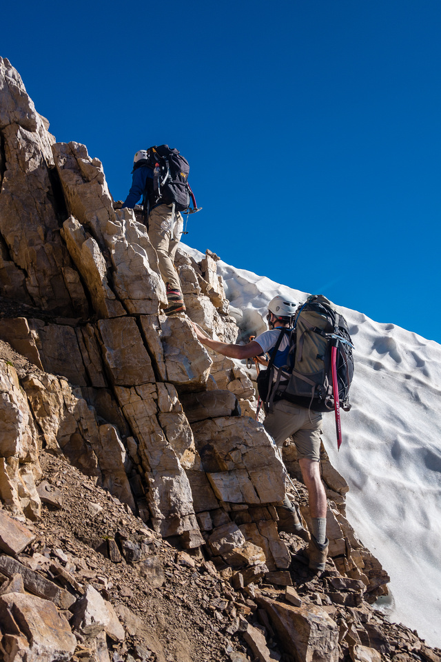 Bailing the lower ascent gully.
