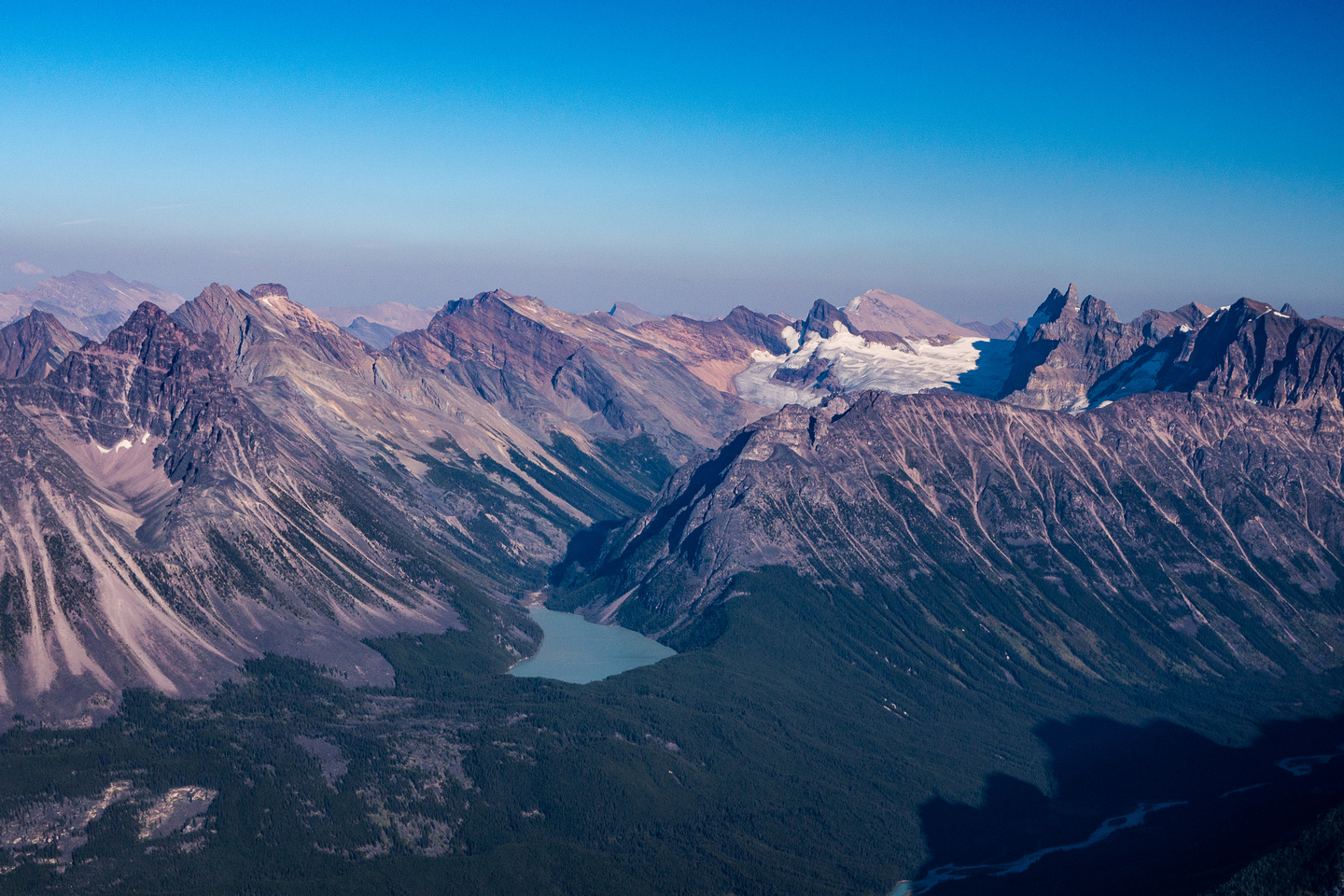 Looking over Gong Lake towards Gong Peak and Glacier with Sunwapta and Smythe to the right and Confederation, Weiss and Mitchell to the left.