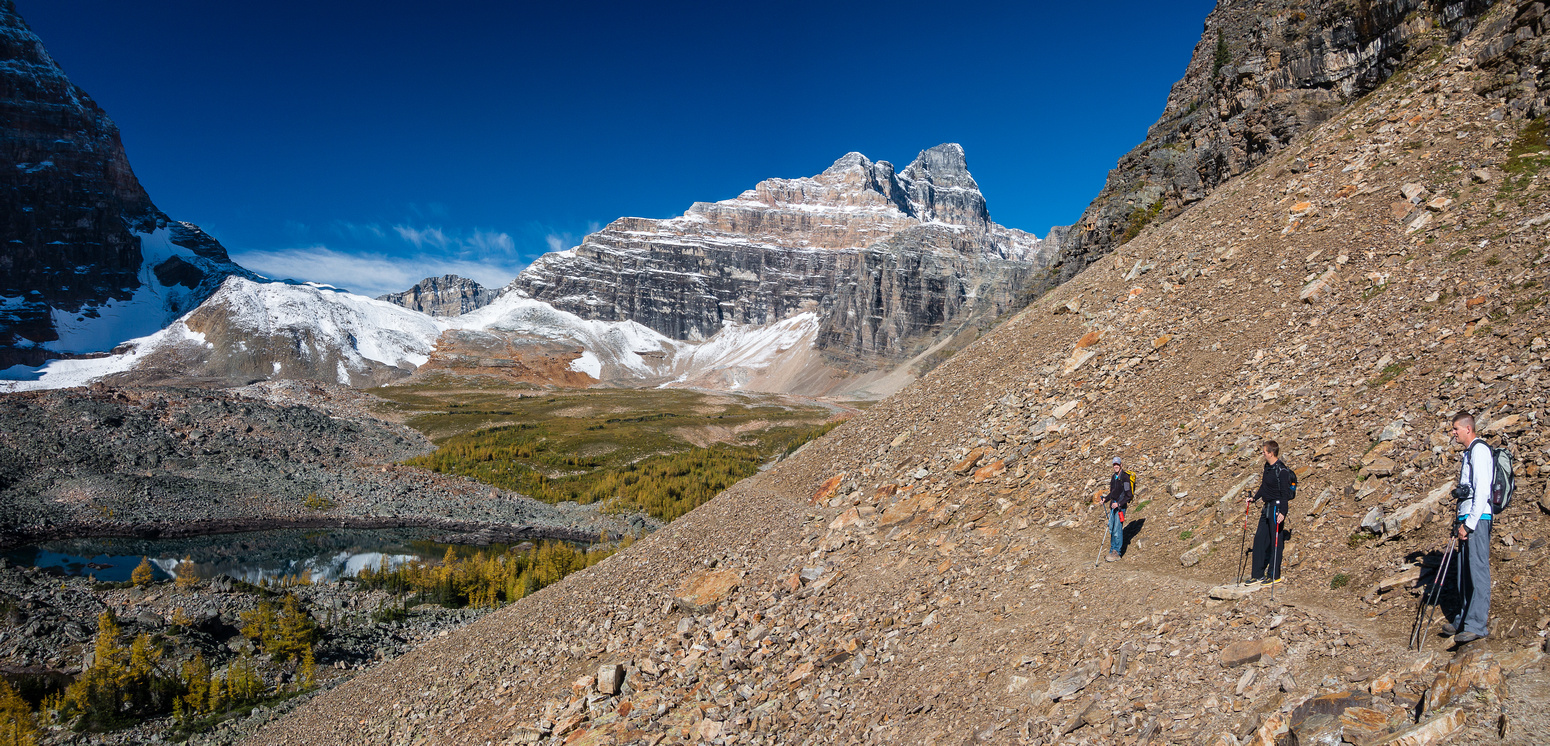 Hiking past Eiffel Lake (lower left), just before cutting to our right up a gully.