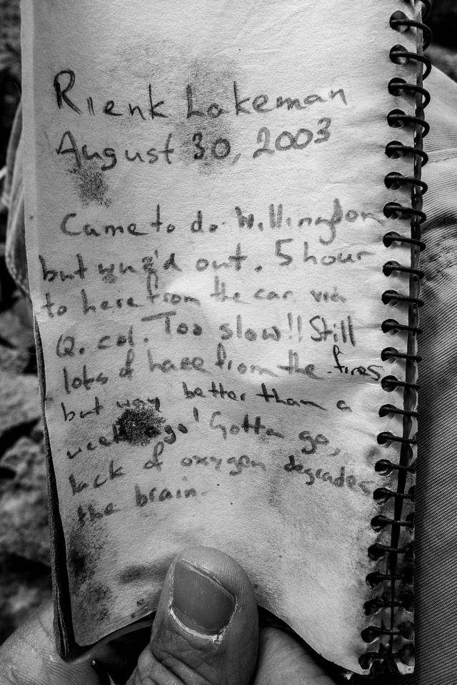 Devon Mountain Summit Register.