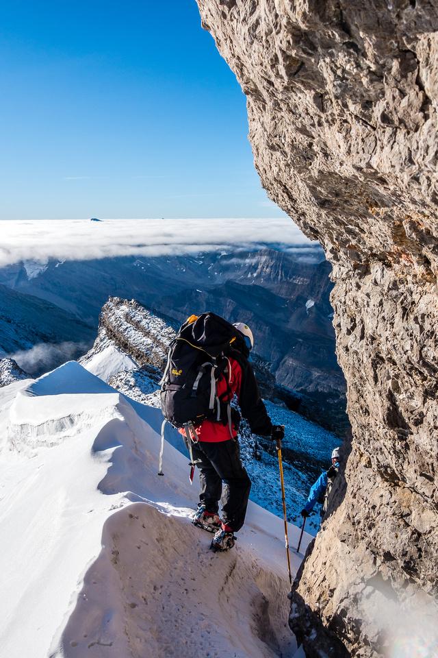 Descending the south ridge.