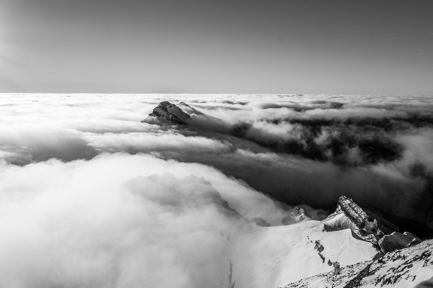 Crown Peak and South Willingdon above the clouds.