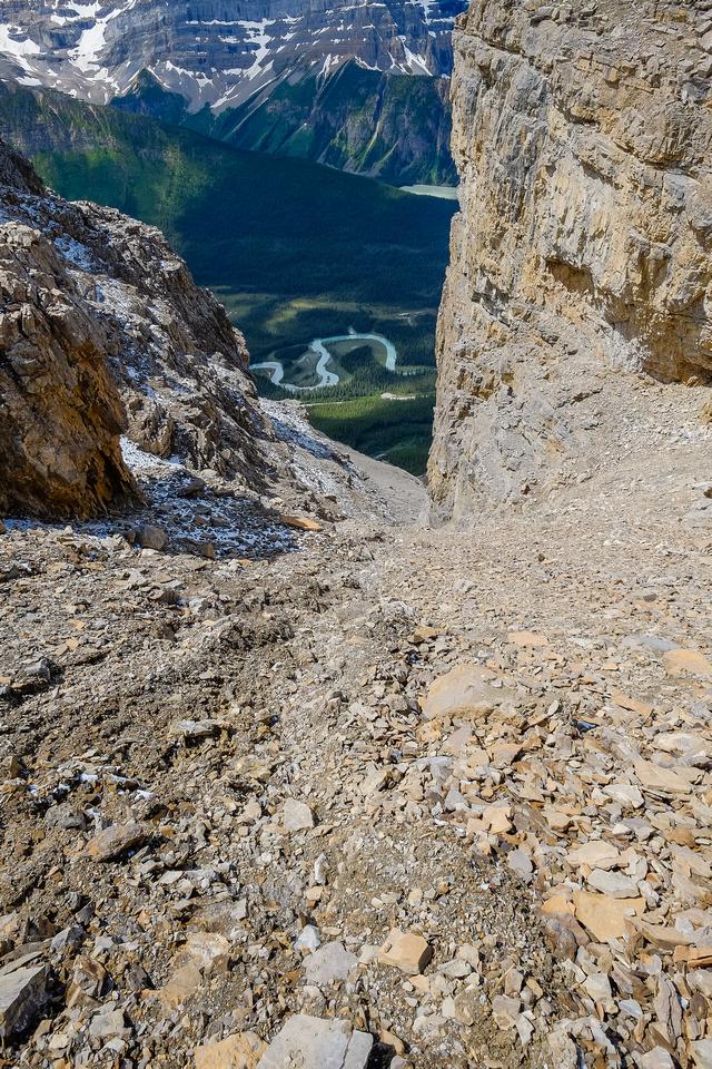 Descending the upper gully
