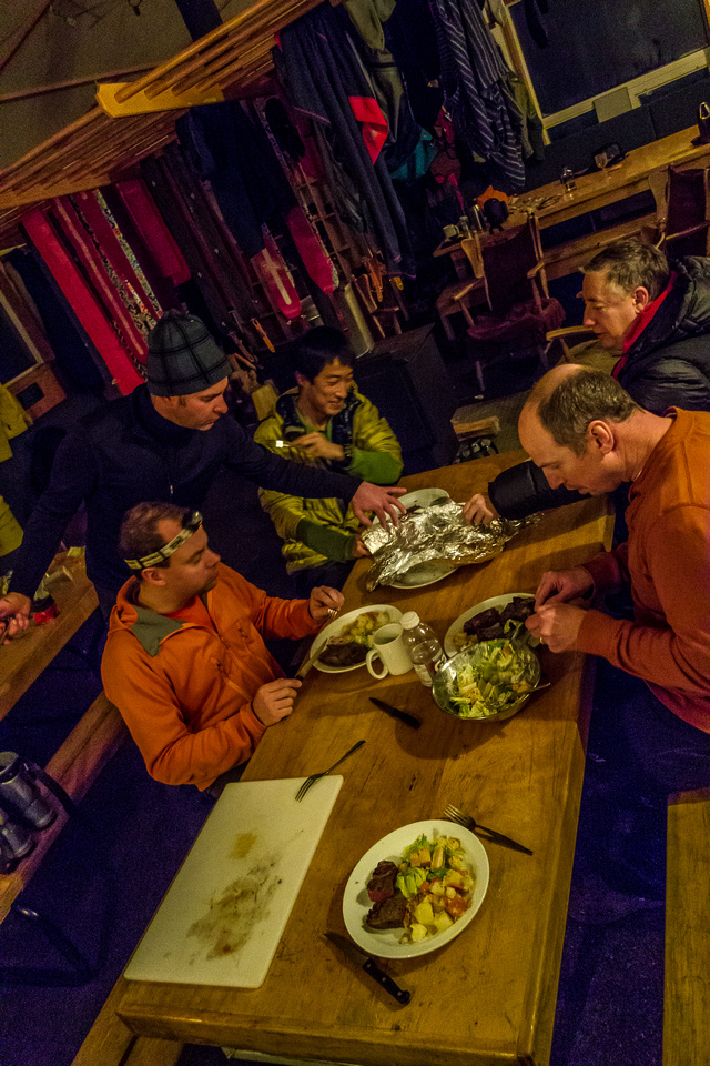 Nothing beats a warm, home cooked meal in a hut at the end of a long day of skiing!