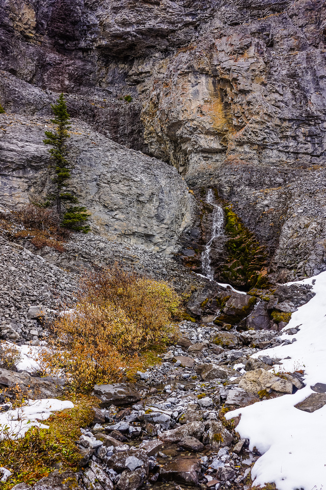 A small waterfall coming off Mount Inflexible.