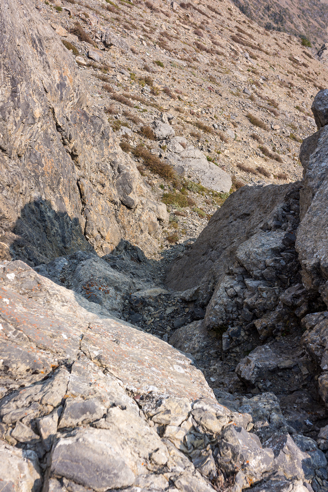 Another upper moderate scrambling section on the ridge.