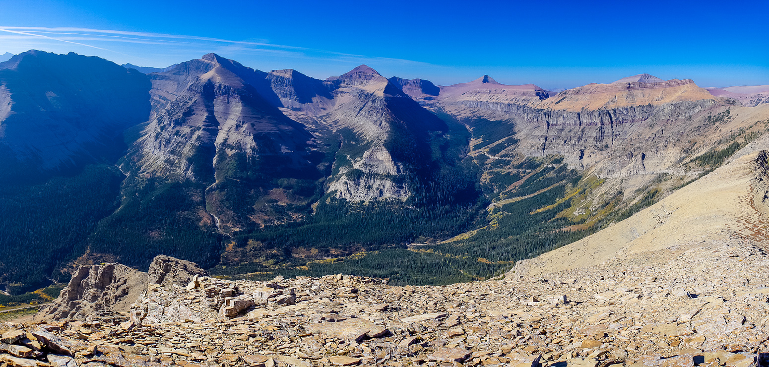 My favorite views all day were looking west into Waterton from the traverse. Peaks include Glendowan, Newman, Spionkop and Loaf Mountain (L to R).