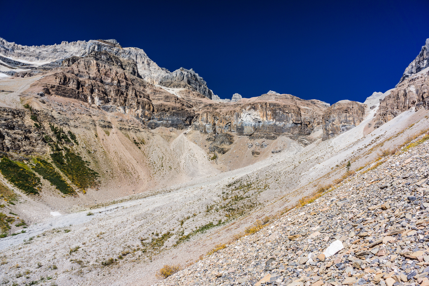 Looking ahead to a nice scree grunt! We go right of the buttress right of center on light colored scree.