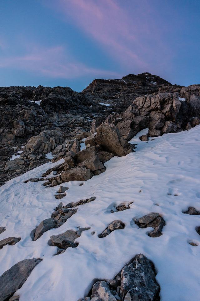 Looking up the northeast ridge - it looks steep!