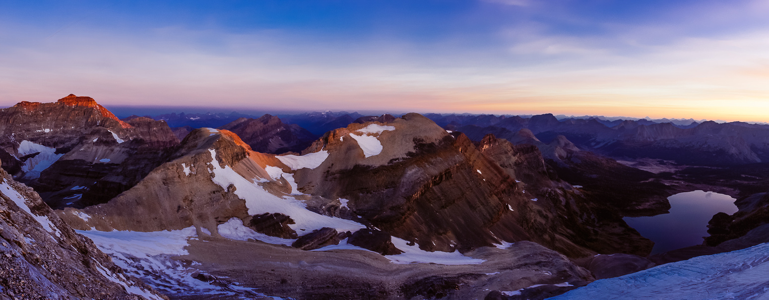 Alpine glow over The Marshall, Mount Strom the Hind Hut and Wedgwood (L to R).