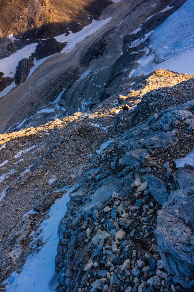 Climbing the lower ridge beneath the red band.