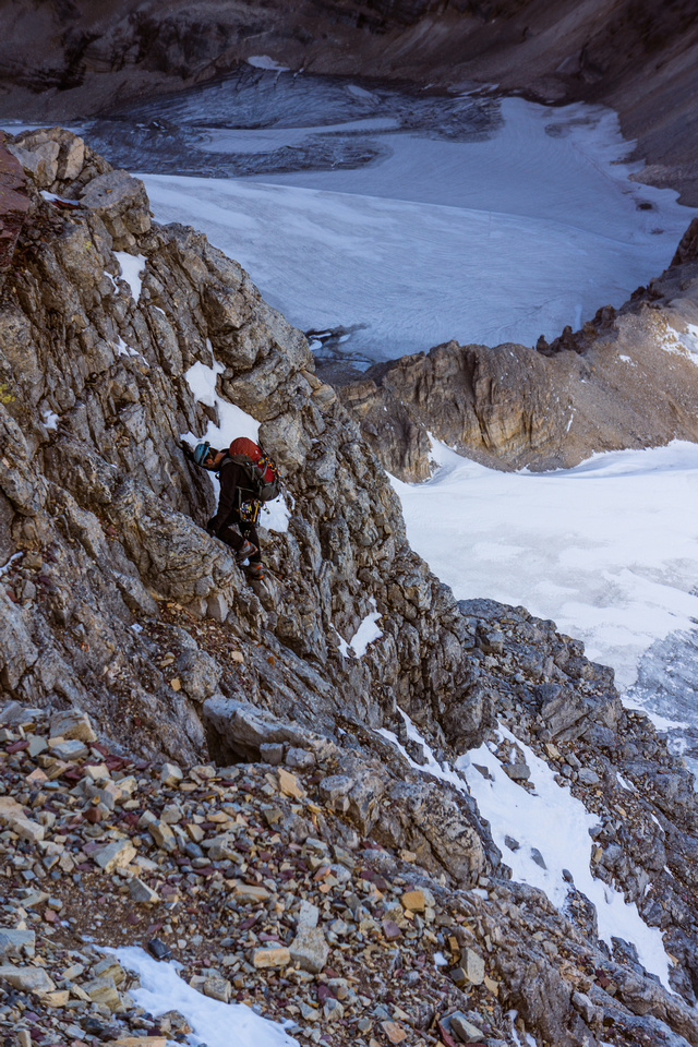 Climbing through the red band - the north ridge steepens here.