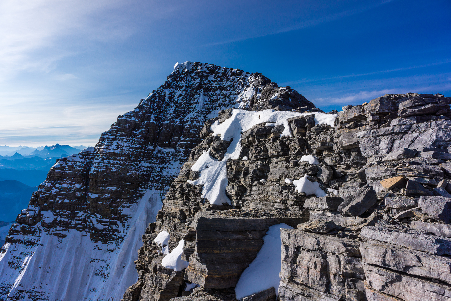 The summit of Mount Assiniboine comes into view! Almost half way...