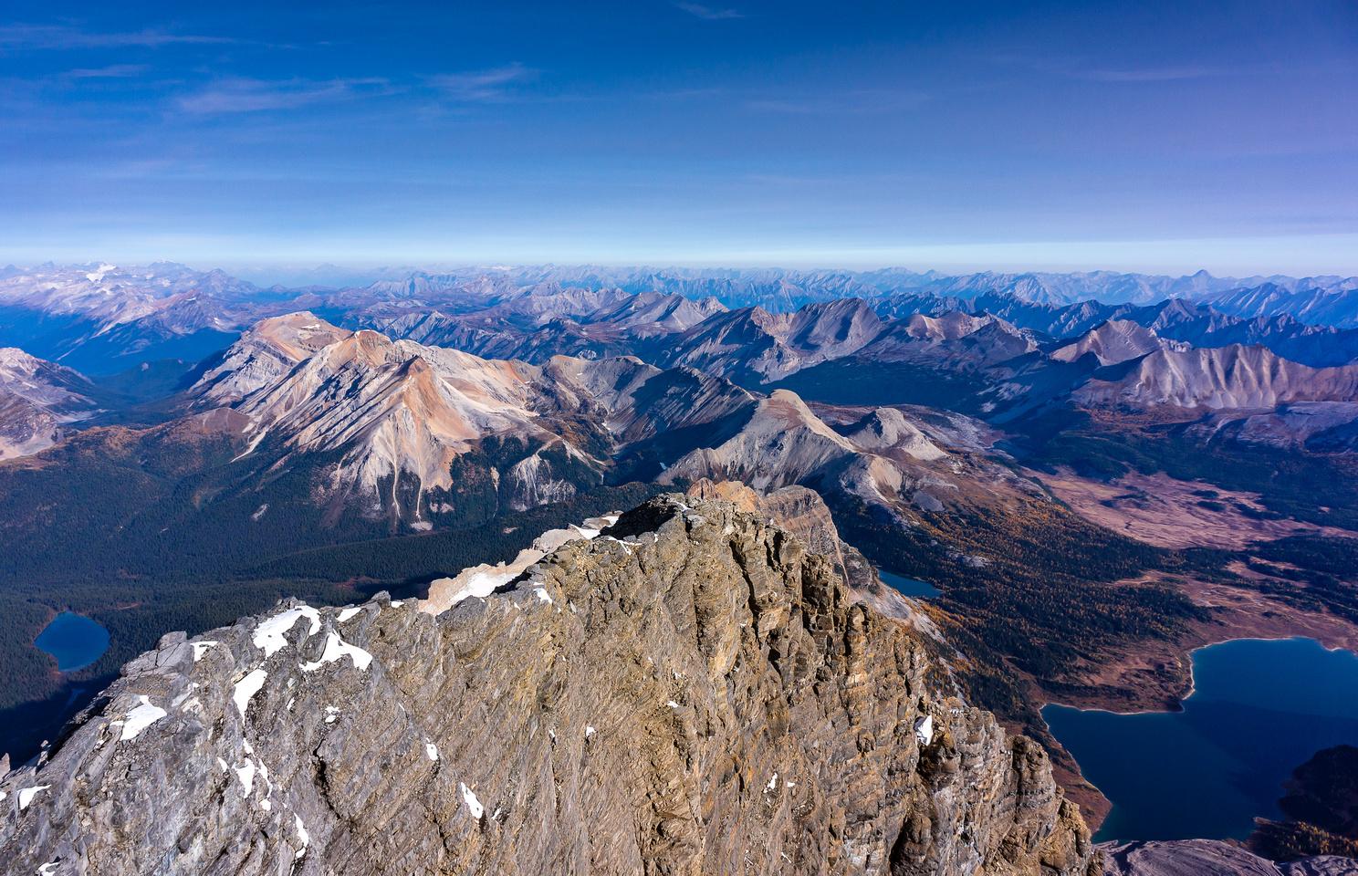 The Simpson Ridge runs from Nub Peak at center over Nestor and Simpson Peak to the ridge at left.