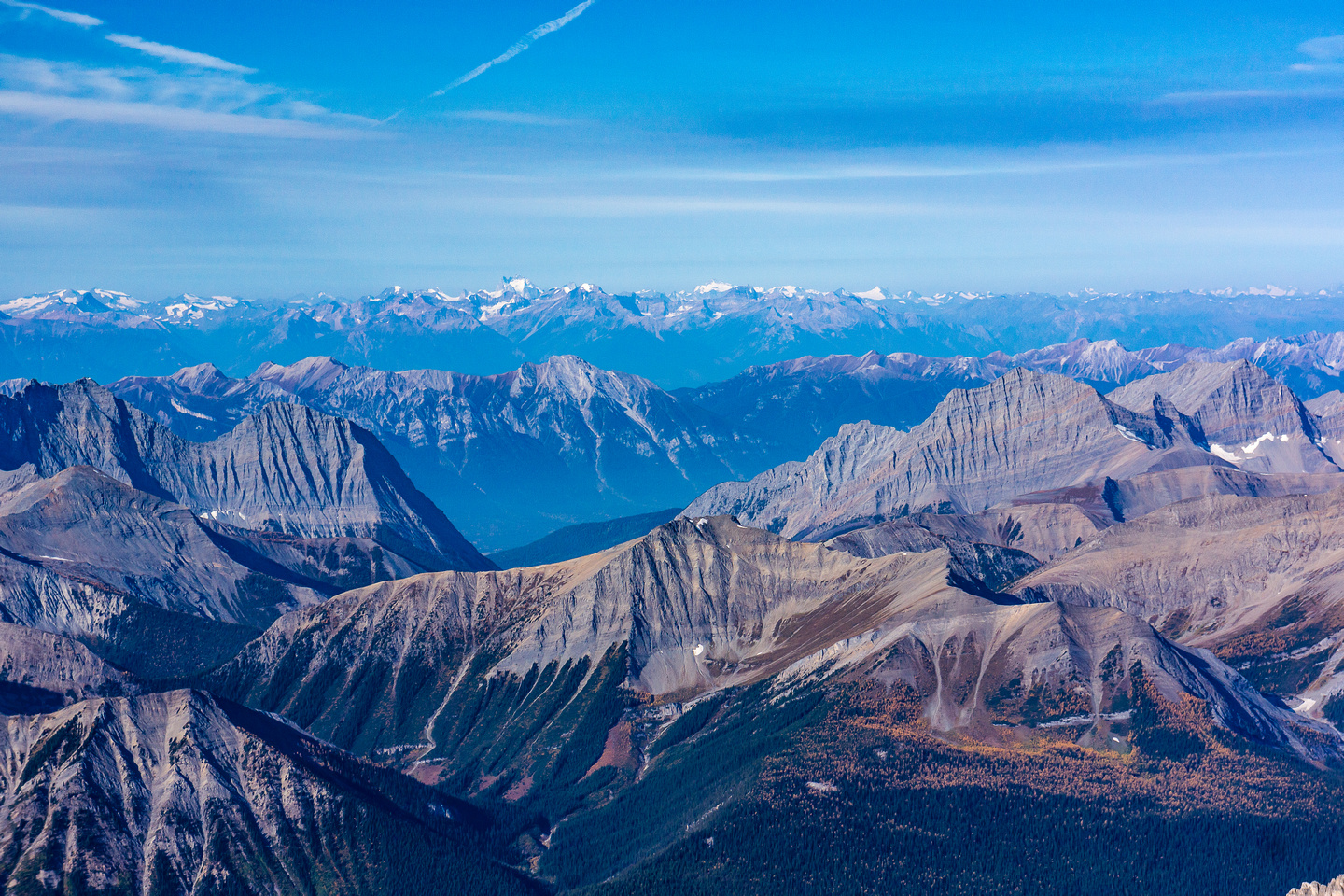 Looking over Mount Sam and the Mitchell Range to the distant Bugaboos.