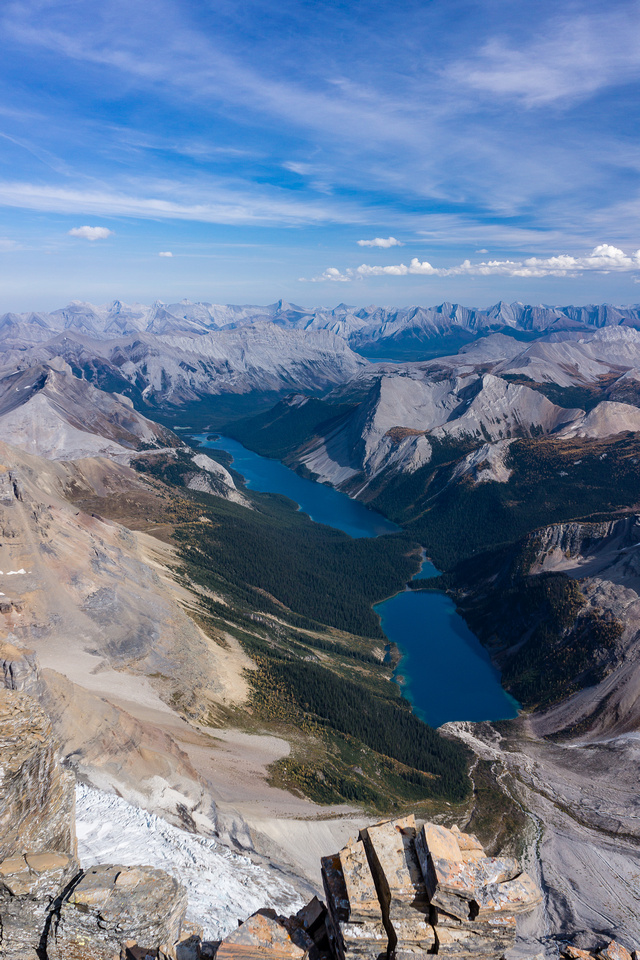 Gloria, Terrapin and Marvel Lake from the summit of Lunette Peak.