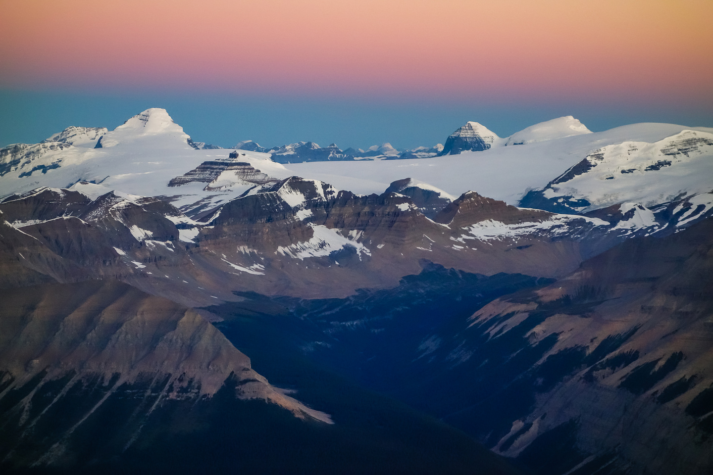 Just before sunrise - a view off the summit ridge towards the Columbia Icefields.