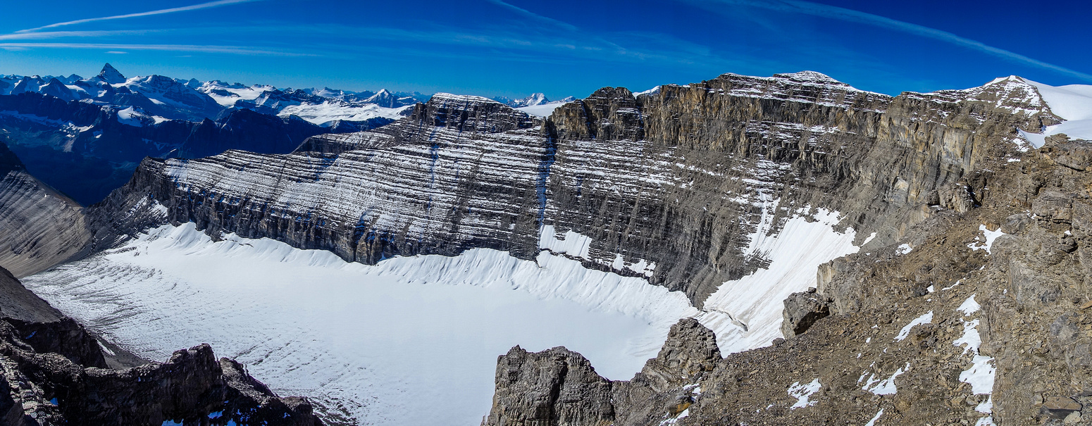 The impressive cwm funneling into the Lyell approach valley from the south end of the Monchy Icefield.