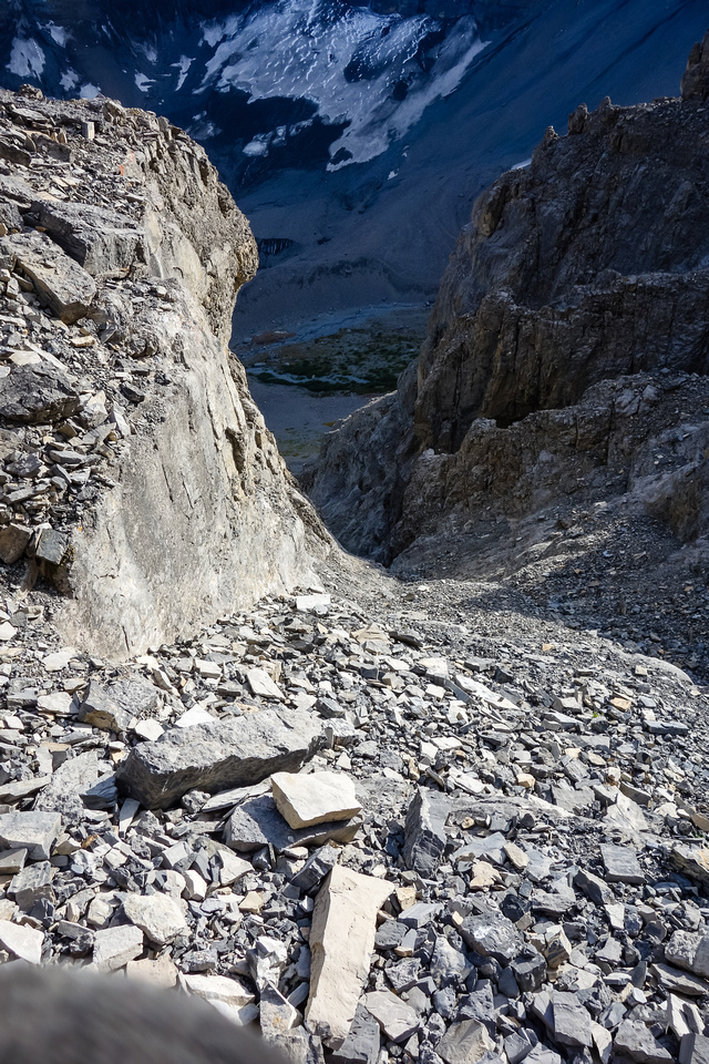 Looking down the hidden access gully.