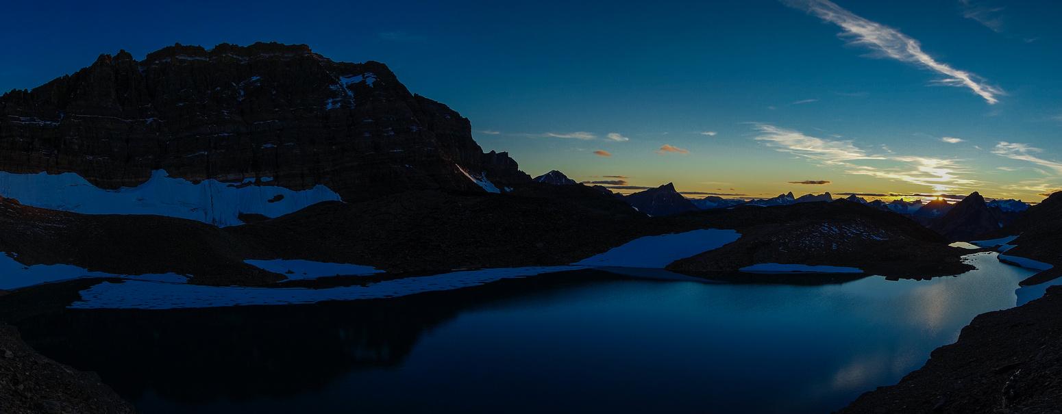 Setting sun on Iceberg Lake.
