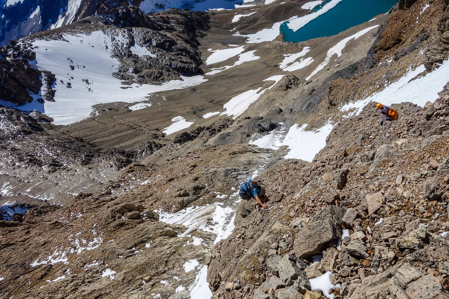 Downclimbing the face as we traverse skier's left to the 9900' col.