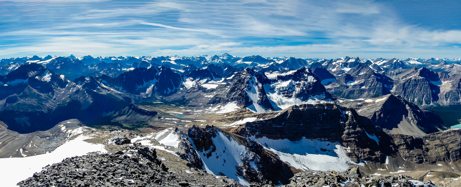Looking south (L) and west. Catacombs is at distant left with the northern Columbia Icefield peaks visible beyond.