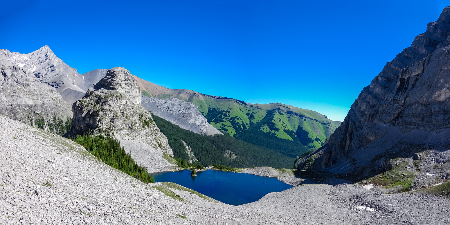 A view back towards Bogart Tower and the third lake from our descent of Ribbon Peak.