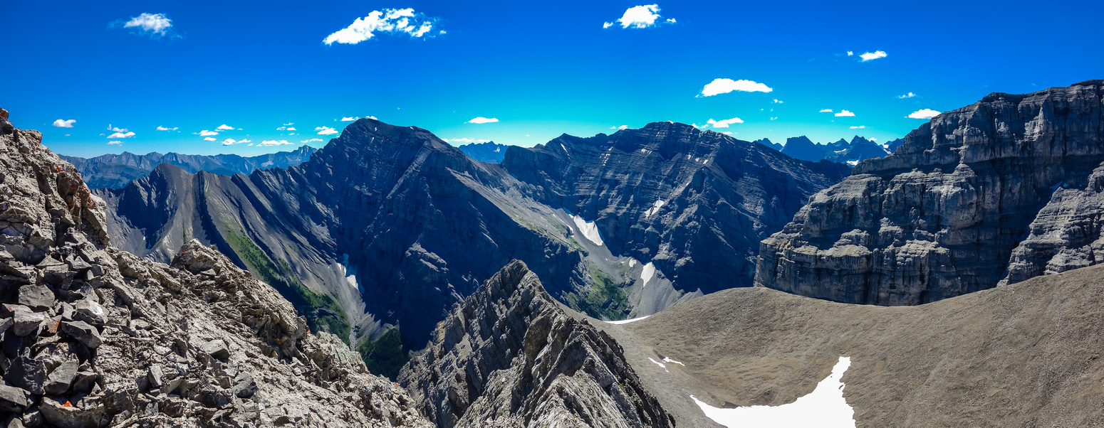 The views are improving as I gain height on the west face. This is looking east to Mount Kidd North and South.