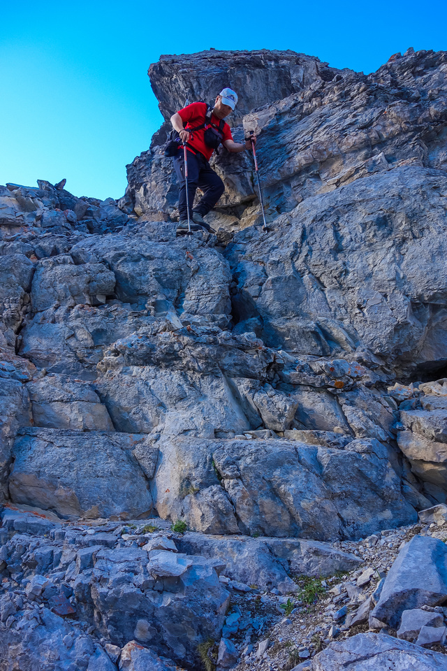 Another shot of Sonny descending scrambling terrain on Bogart Tower.