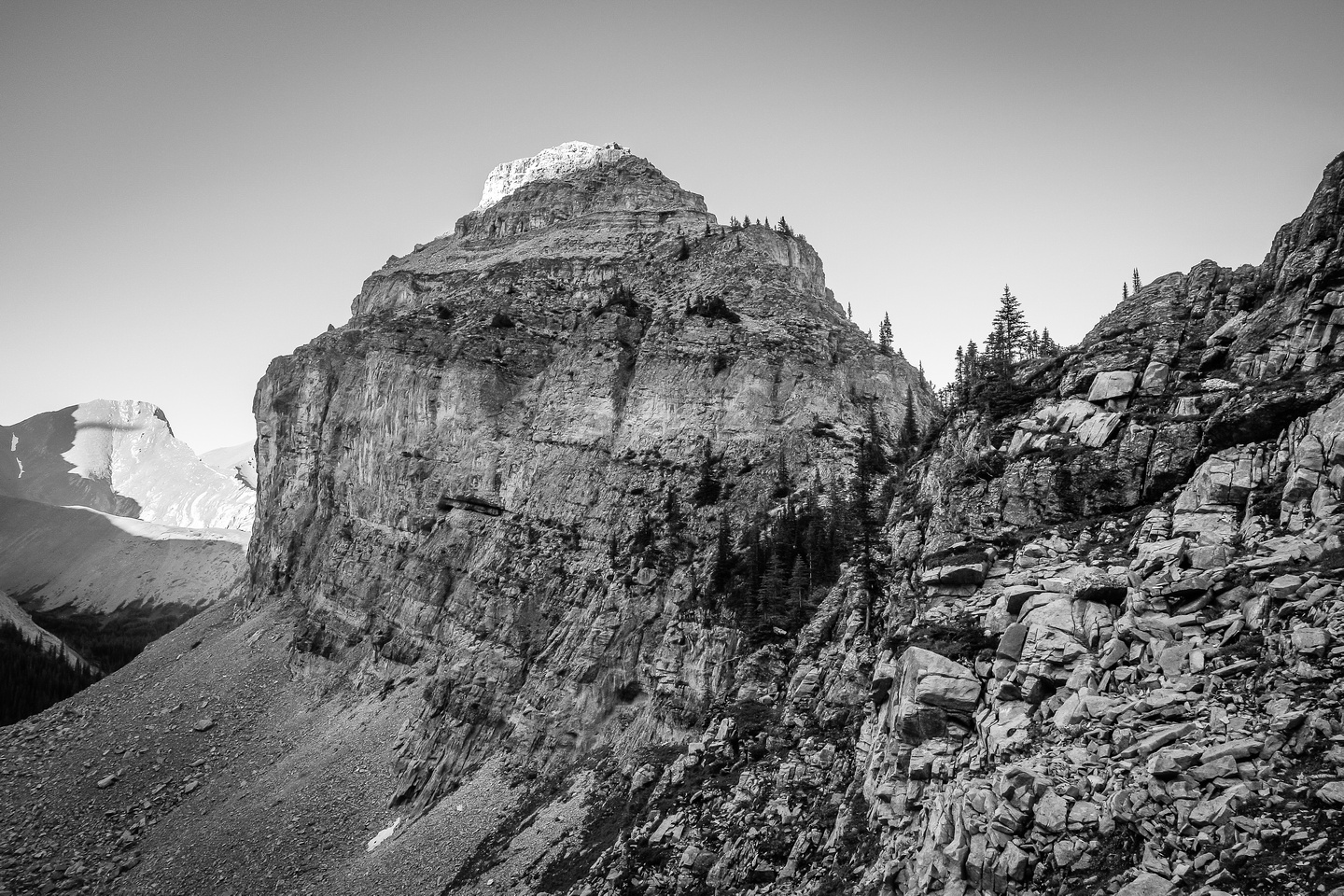 A good view of the south ridge on Bogart Tower from the descent trail down the headwall to the second Memorial Lake.