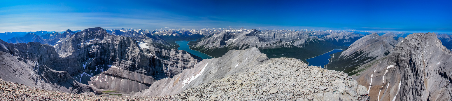 Incredible summit views south, west and north include (L to R), Sparrowhawk, Spray Lakes, Nestor, Old Goat, Big Sister, Rimwall, Windtower and Lougheed I.