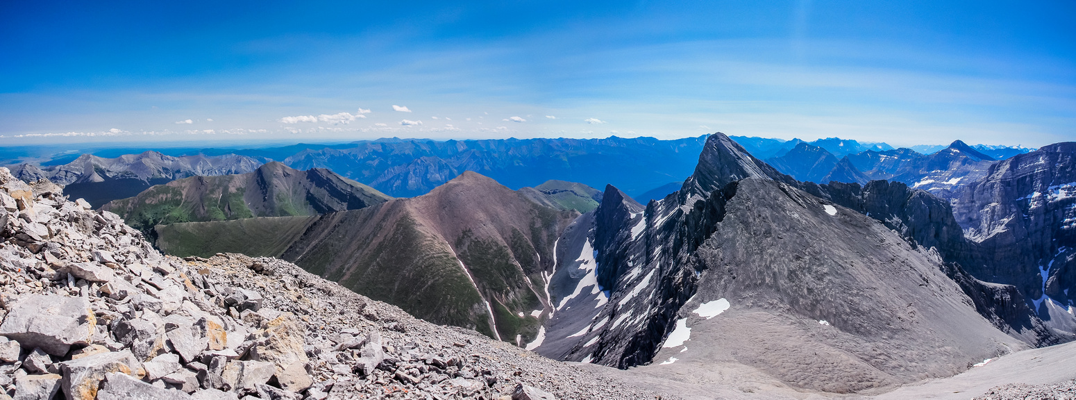 Looking along the ridge to Lougheed II and Wind Mountain.