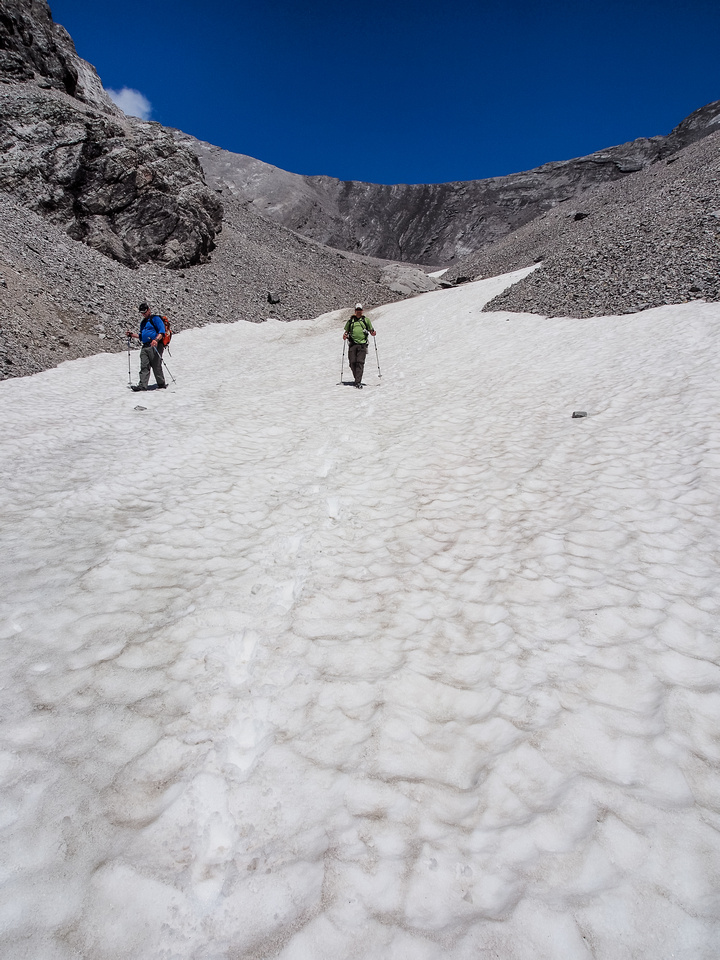 We used snow patches to speed up parts of the descent.