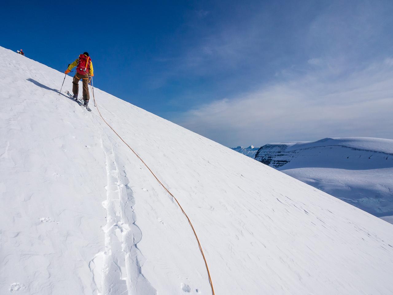 TJ breaks a nice gentle trail up North Twin.